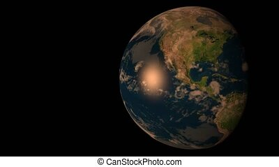 3D model of the Earth in darkness, illuminated by the Sun. Fast days pass by. USA, Brazil