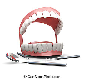 3d model of the jaw and dental tools on a white background