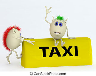3d  model of the taxi symbol with puppets