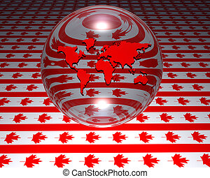 model of world map with canadian flag in background