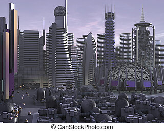 3d Model Sci-fi city - 3d Model of Sci-fi city, with the...