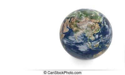 3d, model, van, planeet, earth., aarde, radvormigen, op, een, witte achtergrond