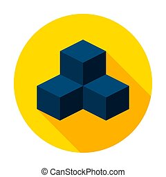 3D Modeling Cube Circle Icon