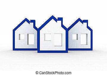 3d models ecological houses symbol