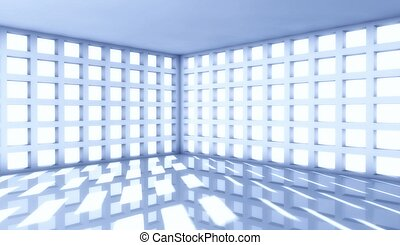 3d modern architecture interior with window