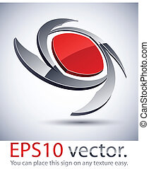 Vector illustration of 3D blade abstract business logo.