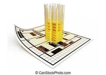 3d modern building and plan blueprint
