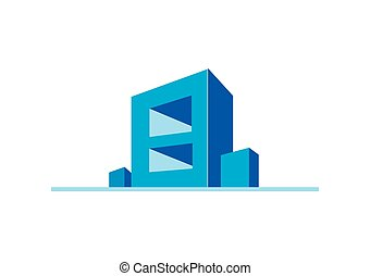 3D modern building construction vector logo