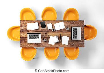 3d modern computer workplace
