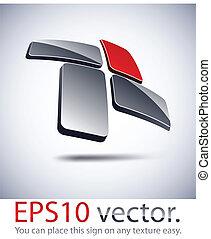 3D modern cross logo icon. - Vector illustration of 3D cross...