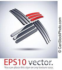 3D modern cross logo icon. - Vector illustration of cross 3D...