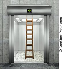 3d modern elevator with ladder