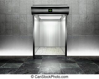 3d modern elevator with open door