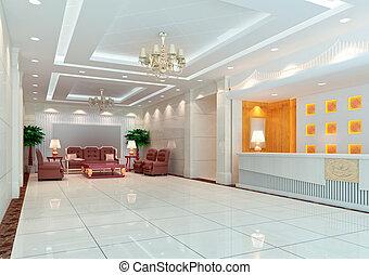 3d modern hall,corridor