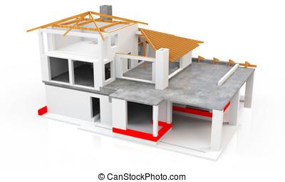 3d, Modern, Haus, Gebäude, Buehne