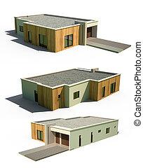 3d modern house facade