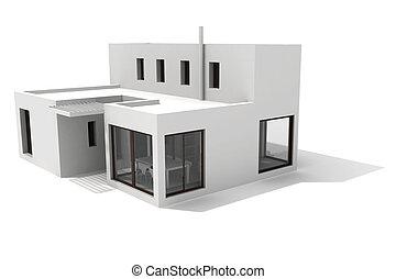 3d modern house, on white background