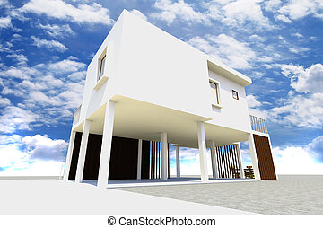 3d Modern house rendered