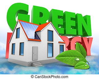 3d modern house with green energy sign