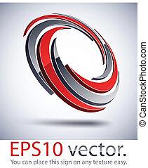 3D modern impeller logo icon. - Vector illustration of 3D...