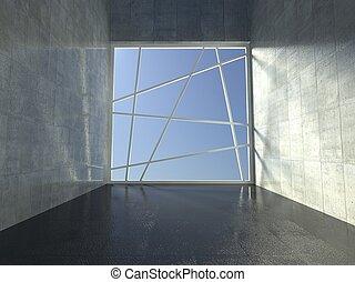 3d modern indoor, empty corridor