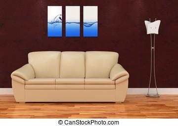 3d, modern, inneneinrichtung, zimmer, mit, nett, sofa, und,...