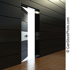 3d modern interior, wall with door