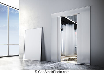 3d modern interior with elevator an