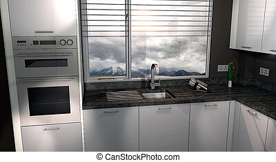 Kitchen Design In White Fill White Fill Render Of A Kitchen Stock Illustration Search Eps