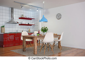 3d - modern kitchen interior - shot 31