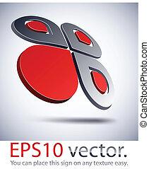 3D modern logo icon.