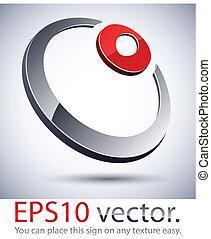3D modern ring logo icon.