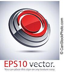 3D modern round logo icon. - Vector illustration of 3D round...