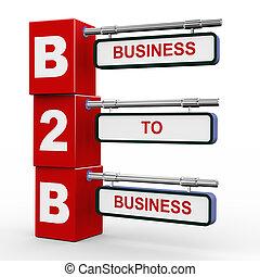 3d modern signboard of b2b