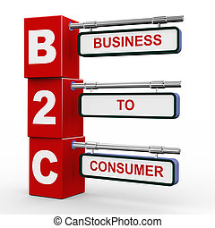 3d illustration of modern roadsign cubes signpost of b2c - business to consumer