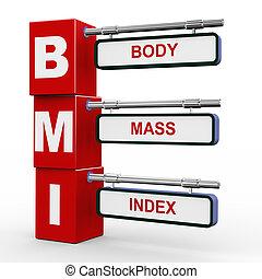 3d illustration of modern roadsign cubes signpost of BMI ( Body Mass Index) button
