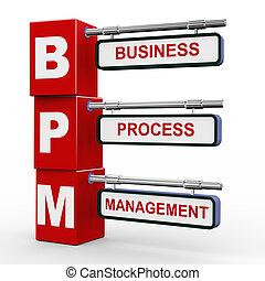 3d modern signboard of bpm - 3d illustration of modern...