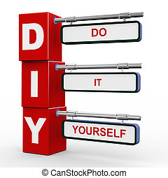 3d modern signboard of diy - 3d illustration of modern...