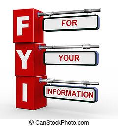 3d modern signboard of fyi - 3d illustration of modern...