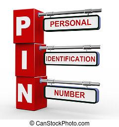 3d modern signboard of pin