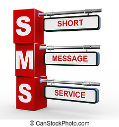 3d modern signboard of sms - 3d illustration of modern...