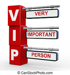 3d modern signboard of vip - 3d illustration of modern...