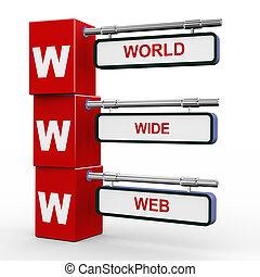 3d modern signboard of www