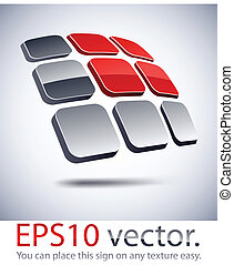 3D modern solar battery logo icon. - Vector illustration of ...