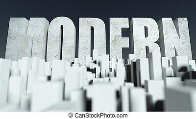 3d, modern, stadt, begriff, modell, von, cityscape