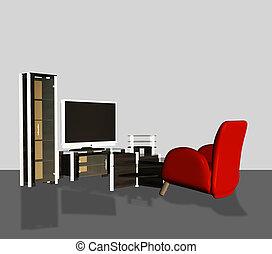 3d Modern TV set - Digital rendered modern tv set with ...