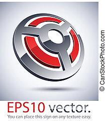 3D modern wheel logo icon. - Vector illustration of 3D...