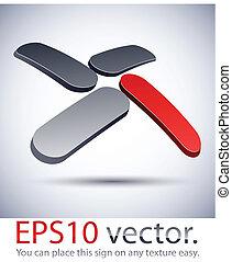 """3D modern """"X"""" logo icon."""