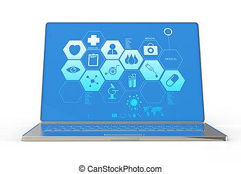 3d, moderne, laptop computer, en, medisch, interface