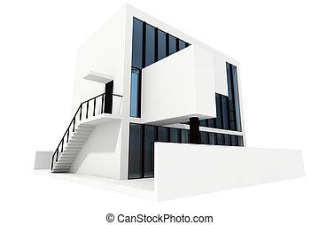 3d, moderno, casa, bianco, fondo